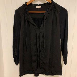 Anthropologie Meadow Rue black silk ruffle Top S